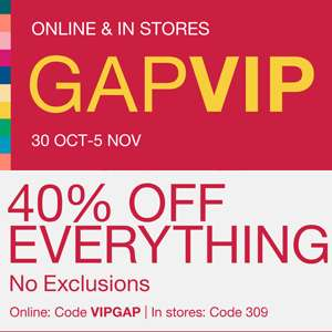 40% off everything including Sale items (examples in OP) @ Gap