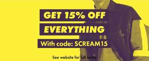 15% off everything today at ASOS