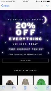 20% off Topshop online and instore