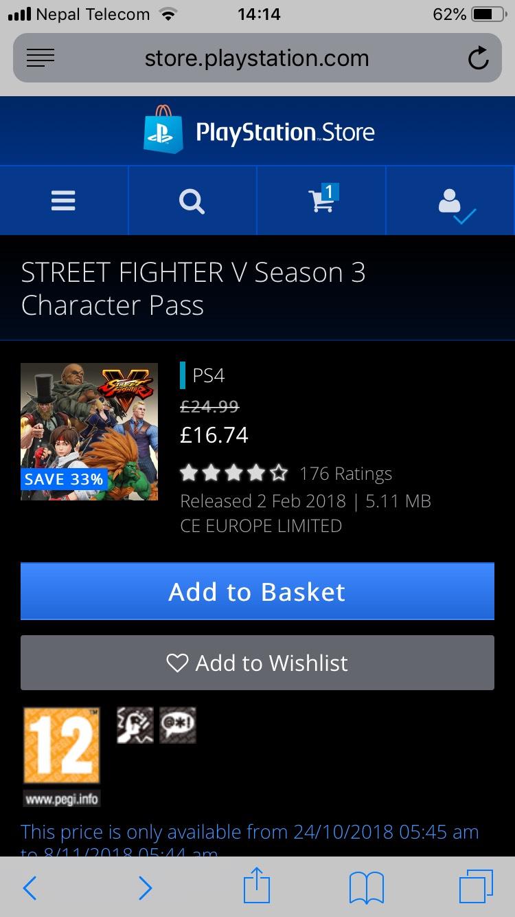 Street Fighter V (Season 3 Character Pass) £16.74 PSN