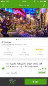 Mini golf for 2 with drink and ice cream £6 each at Amazonia Bolton @ Groupon