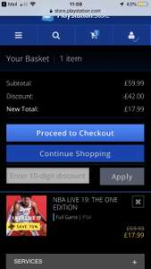 NBA LIVE 19 PS4 £17.99 @ PSN