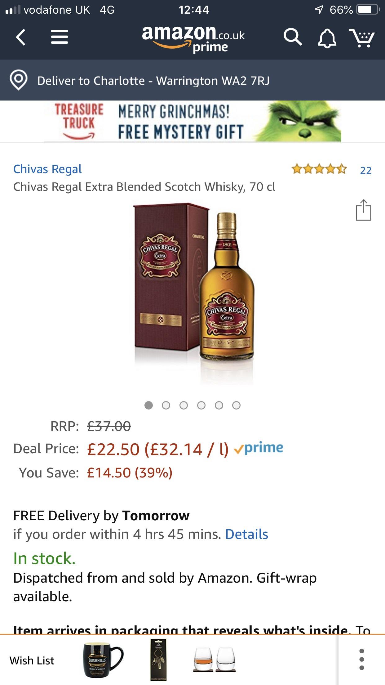 Chivas Regal Extra Blended Scotch Whisky, 70 cl  £22.50 @ Amazon