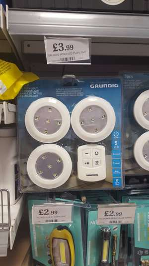 Grundig 3 X LED Push light (JML Cheapy equivalent??) With dimmer, timer & remote control £3.99 @ Home Bargains