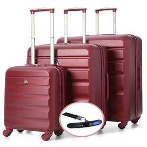 Aerolite ABS325 ABS Hard Shell Luggage Suitcase 3PC Set & Free Digital Scale - now £67.99 @ Travel Luggage & Cabin Bags