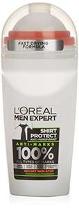 L'Oreal Paris Men Expert Shirt Protect 48H Anti-Perspirant Roll-On Deodorant 50ml down to £1.50 @ Amazon add on item