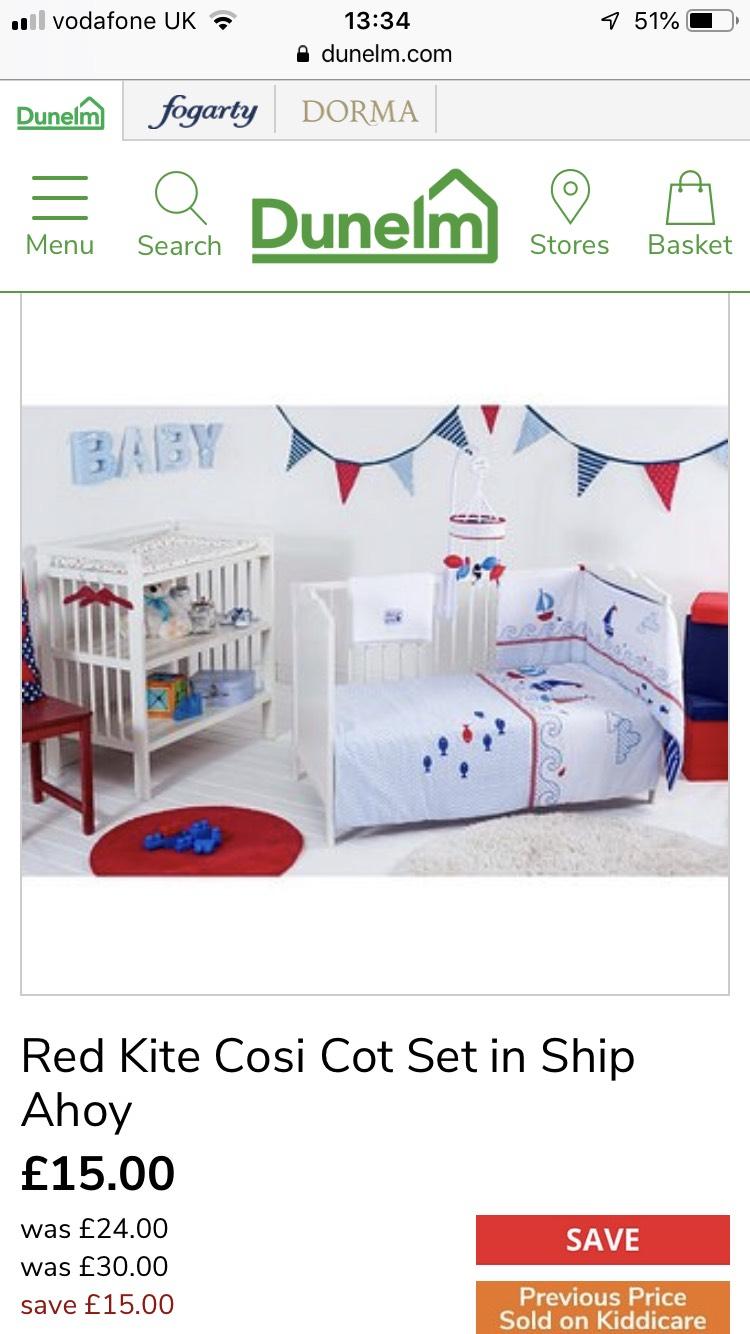 Ship ahoy cot /cot bed set £15 @ Dunelm - Free c&c