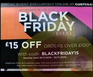 Black Friday  - £15 off £100 @ Costco.co.uk