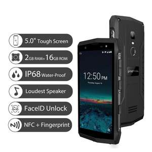 POPTEL P8 IP68 Waterproof Android 8.1 Quad Core 5.0 inch 3750mAh 2GB+16GB 8MP Face ID 4G LTE Smartphone £47.05 @ Aliexpress