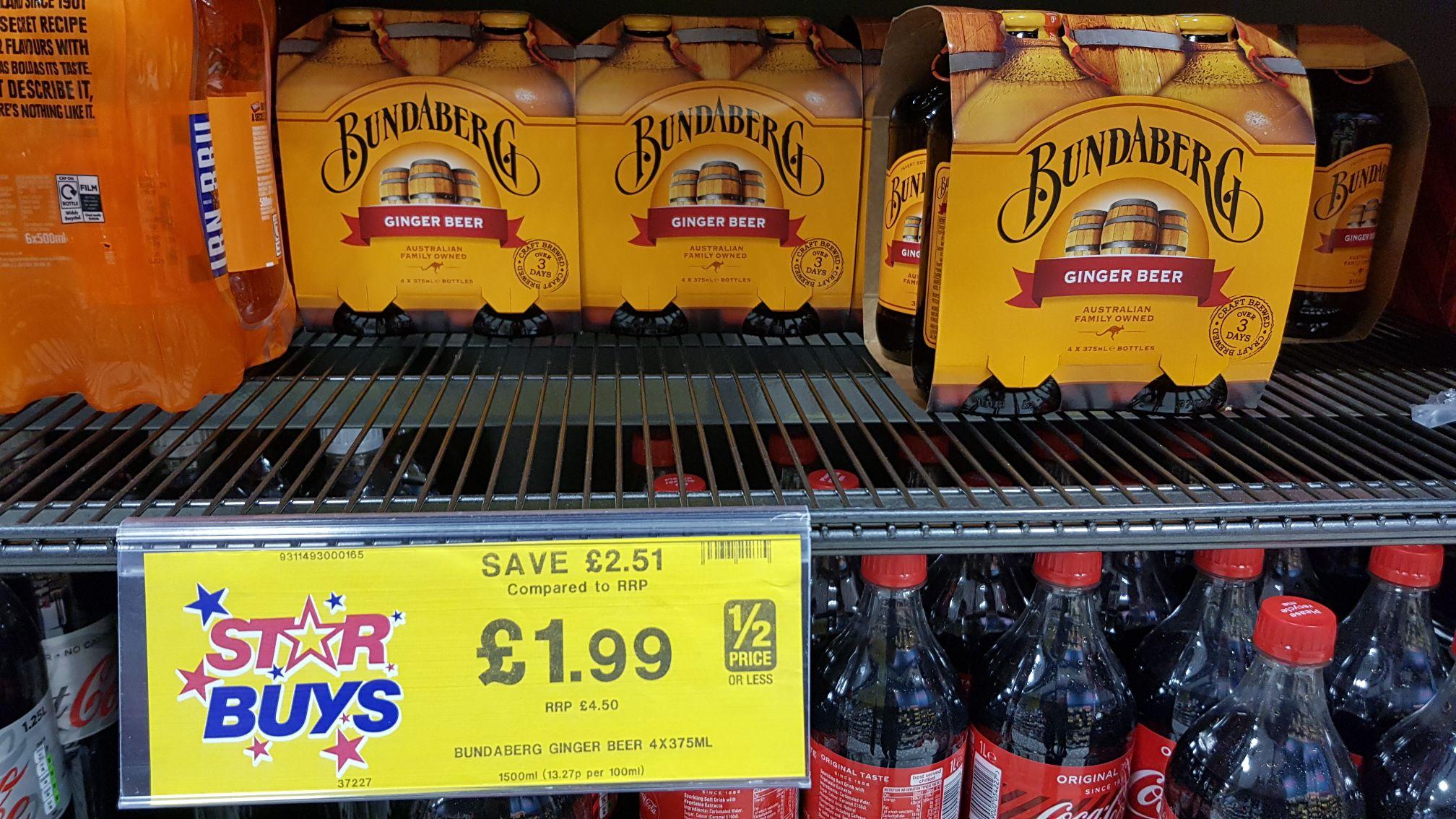 Bundaberg Ginger Beer 4x375ml £1.99 @ Home Bargains