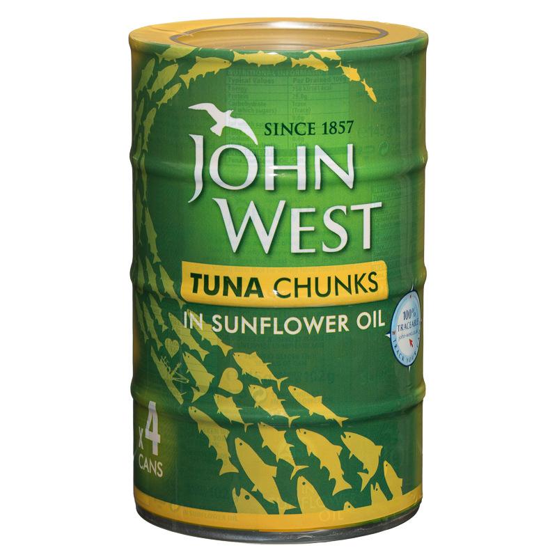 John West Tuna Chunks in Sunflower Oil 4 x 132g Cans £3 @ B&M