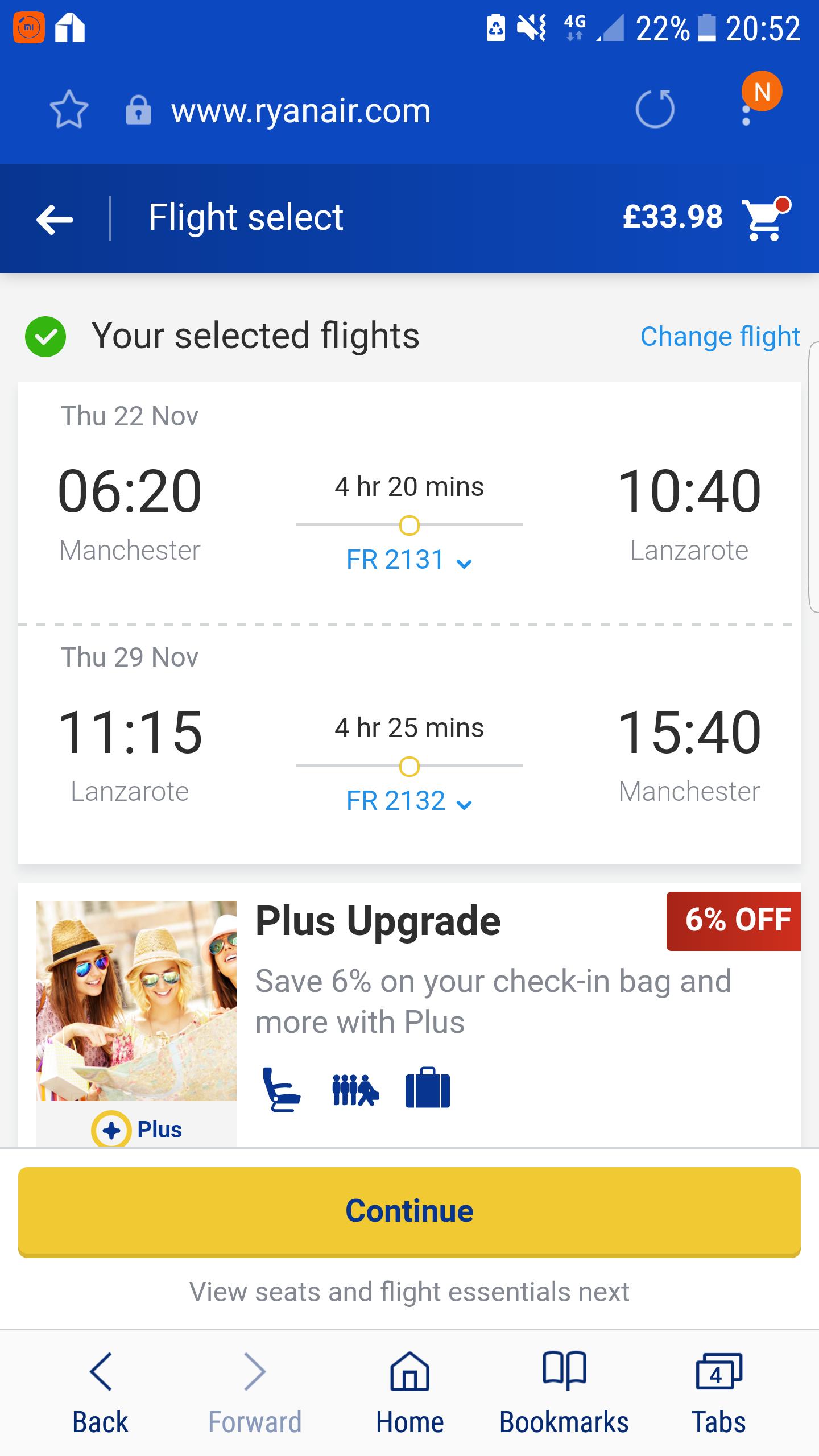 Lanzarote £33.98 Return Flights from Manchester