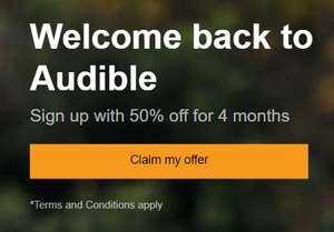 Audible membership £3.99 per month, for 4 months (for returning members)