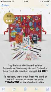 Paperchase advent calendar £25 with code and free del