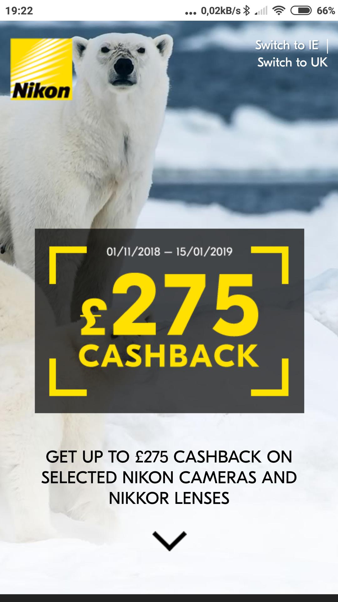 Nikon cashback Winter 2018 - up to £275 cashback on seleted Nikon cameras and lenses
