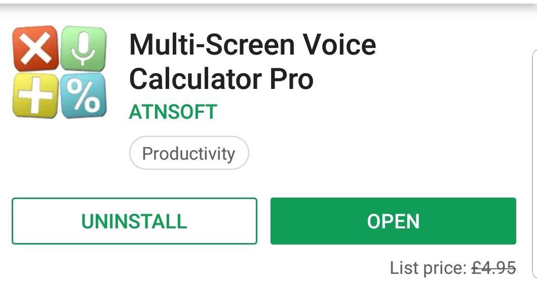 Multi-Screen Voice Calculator Pro - Free @ Google Play