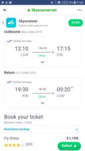 Business Class from London, UK to Jamaica for only £1108 roundtrip  On British airways via Skyscanner