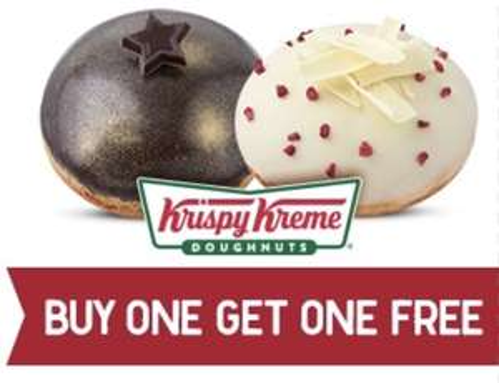 BOGOF on Krispy Stardust or Berry White Kreme Doughnuts on 7th November for Krispy Kreme friends at Krispy Kreme & Tesco