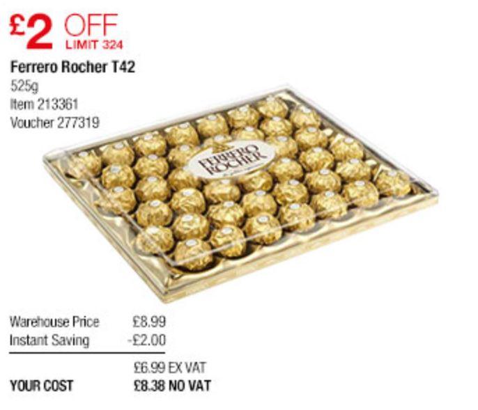 Ferrero Rocher, 42 Pieces, 525g for £8.38 Instore offer @ Costco Warehouse