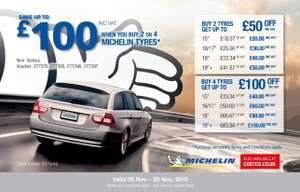 Up to £100 off Michelin tyres at Costco