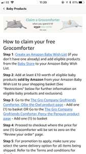 Amazon baby wish list offer.. free gro comforter when you spend £10