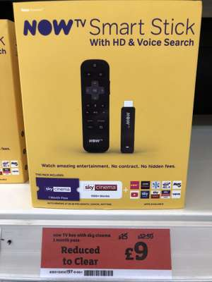 NOW TV Smart Stick with 1 Month Sky Cinema - £9 instore @ Sainsbury's (Camberley)