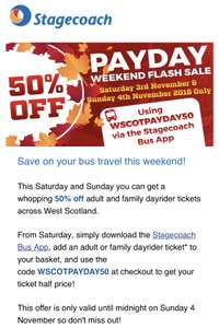 Save 50% on Stagecoach West Scotland Day Riders this weekend (With App)