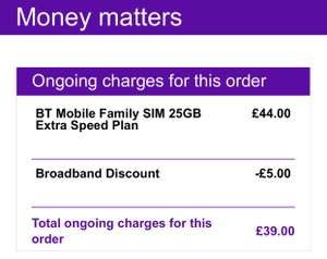 3 x Simo with 25GB, unlimited calls, unlimited texts & free BT Sport £39 pm (1st sim 12mth contract at £13pm / £182) existing customers @ BT