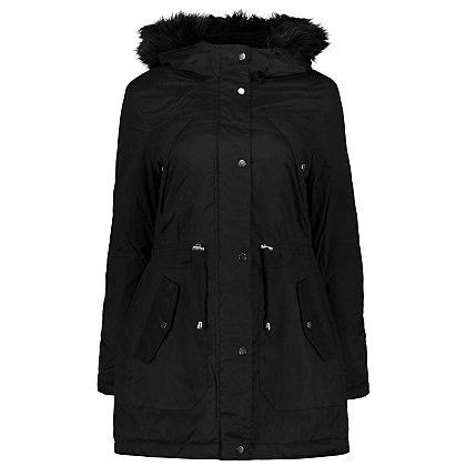 Black Faux Fur Trim Hooded Parka only £15 @ George