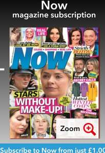 Rolling subscription to NOW magazine (weekly print) for £1 every 2 months