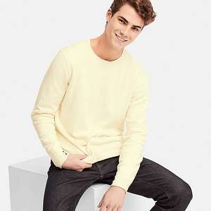 MEN MIX YARN CREW NECK LONG SLEEVE SWEATER Offwhite for £9.90 at Uniqlo (C&C)