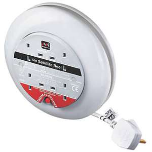 Masterplug 13A 4 Way White Cassette Cable Reel, 4m SATT0413/4W £7.99 C+C @ Screwfix (Deal of the Day)