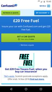 £20 Free FuelInsure your car with Confused.com and get £20 free fuel
