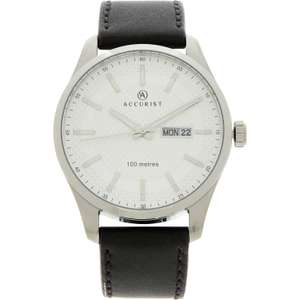 ACCURIST  Black & Silver Leather Strap Watch £39.99 (+ £1.99 C&C / £3.99 Delivery) at TK Maxx