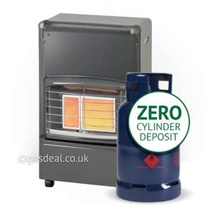 INFRARED FG46 PORTABLE HEATER and a 12kg butane gas bottle with ZERO cylinder deposit delivered FREE to your door at Gasdeal for £68.98