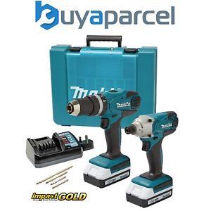 Makita 18v Cordless Li-Ion Combi Drill & Impact Driver Lithium Twinpack, 2X 1.3ah Batteries, Case (G Series) at Ebay/buyaparcel for £120