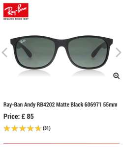 Men's Ray-Bans at Sunglasses Shop for £63 (via Google shopping)