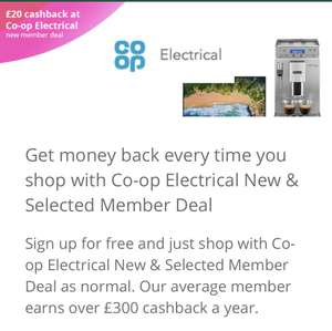 £20 cashback with £20+ spend at at Co op Electrical  via Topcashback for new members