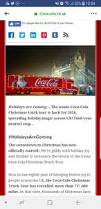Free mini can of coke and visit the Coca Cola Christmas truck (see post for dates and locations).