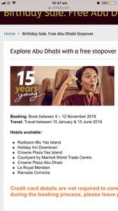 Book you ticket with etihad and get two night free stopover in abu dhabi