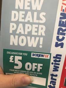 Check your post - £5 off a £25 spend online and instore @ Screwfix