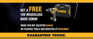 FREE DeWalt 18V Brushless Bare Combi Drill with any other Flexvolt Tool - From £199.99 Screwfix (eg Free drilll with £199 Cordless Blower)