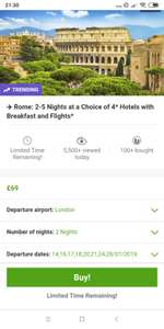 2 nights in Rome city break for 2 with flights from London Gatwick and hotel - £69pp via Groupon