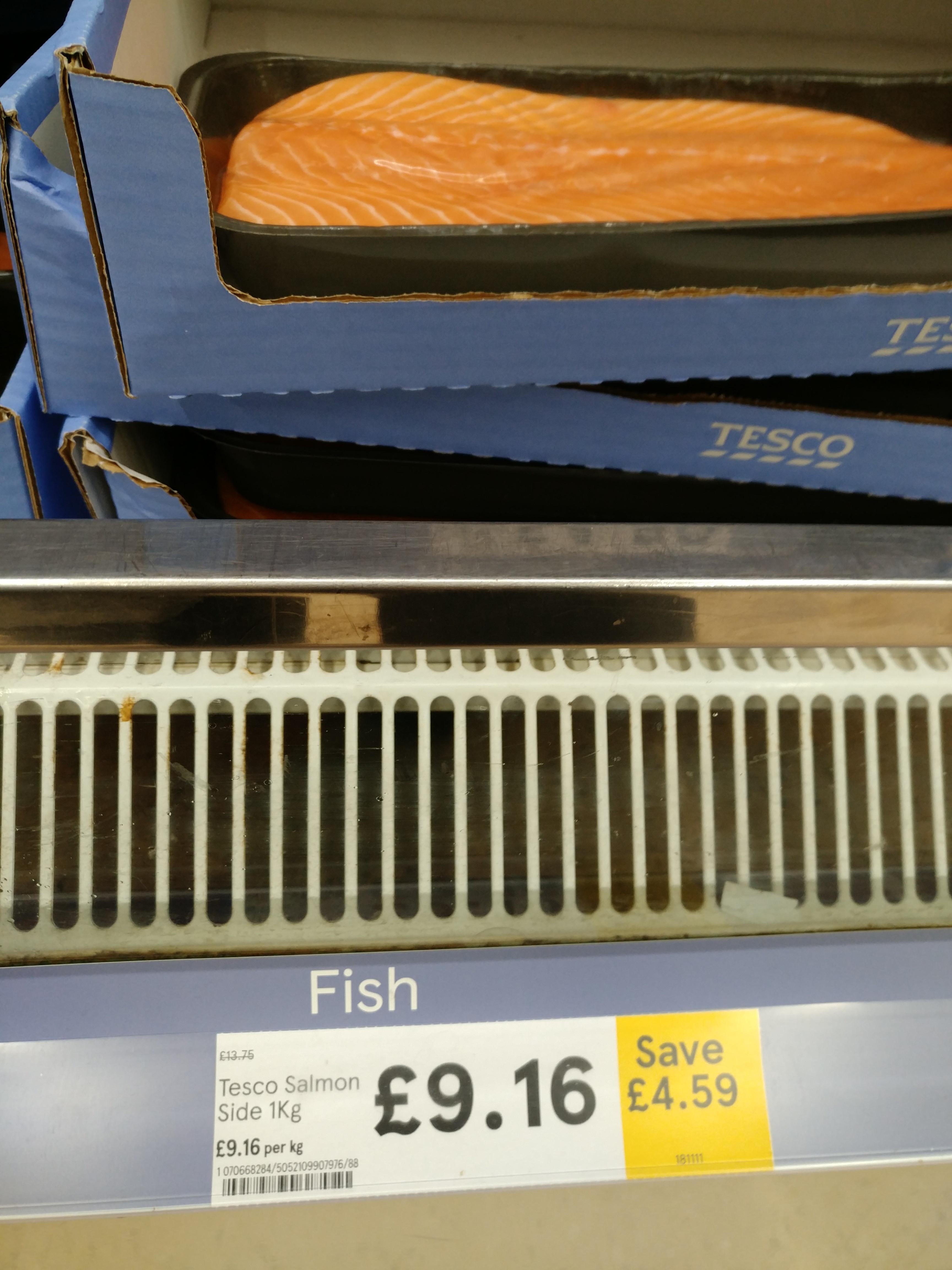 Whole Salmon Side 1kg £9.16 @ Tesco, Online & In Store