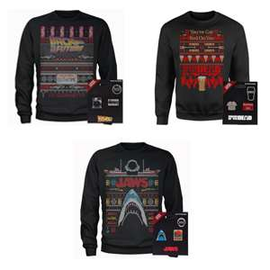 Movie Christmas Sweaters and Pin badge bundles (2 badges with each) £20.98 delivered @ Zavvi