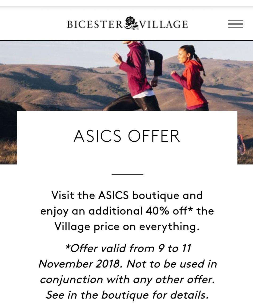 Asics - 40% off outlet price (-30%) @ Bicester Village
