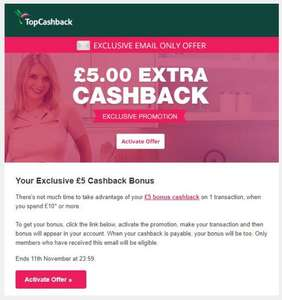 TCB - Get £5 cashback when you spend minimum £10 (Check your emails) @ TopCashBack