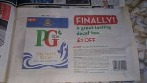 PG tips £1 Off Decaf Tea Voucher in todays Sun (70p or Free with Purchase at McColl's)