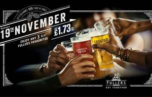Three Fuller's pints for £1.73 each on Monday 19 November