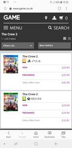 The crew 2 PS4 & Xbox One for £24.99 at Game